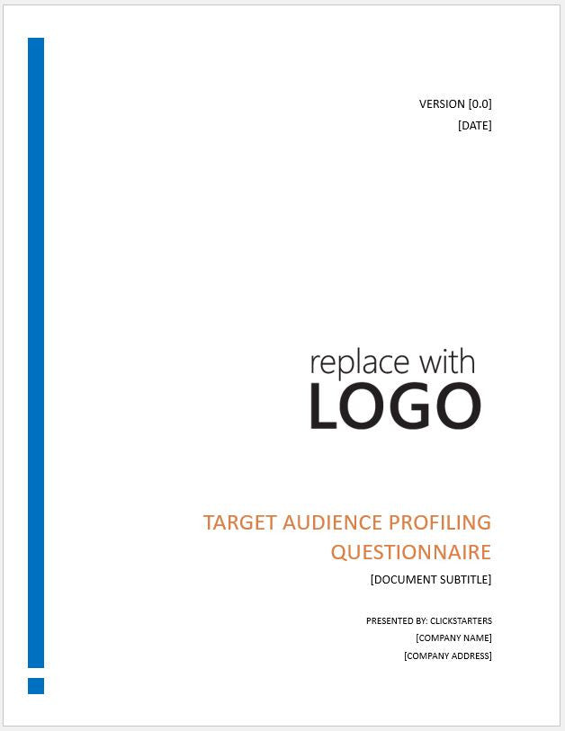 Marketing Target Audience Profiling Questionnaire Template - Clickstarters