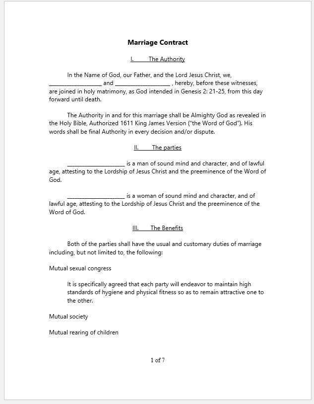 Marriage Or Marital Agreement Template With Christian Religion Focus