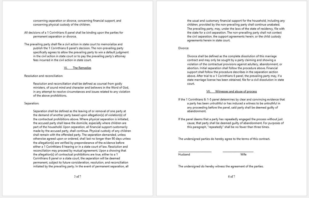 ... Marriage Or Marital Agreement Template With Christian Religion Focus    Clickstarters ...