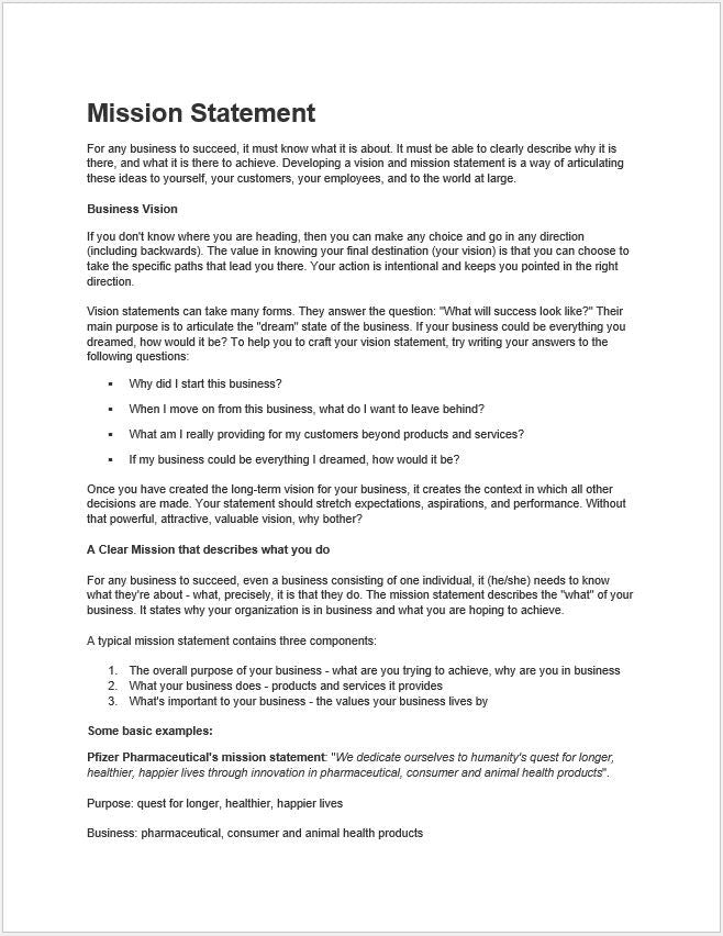 Mission Statement Outline Guide and Template