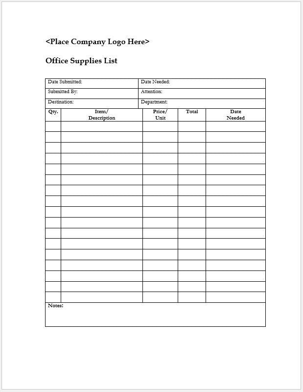 Office Supplies List - Clickstarters