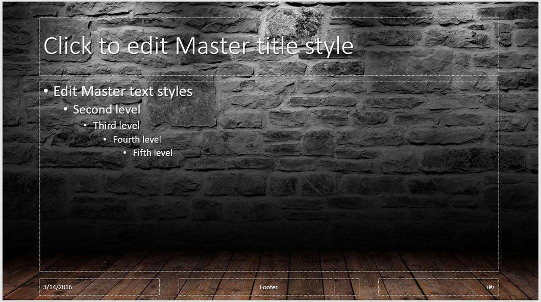 Old Stone Wall With Wood Floor Background Powerpoint Template