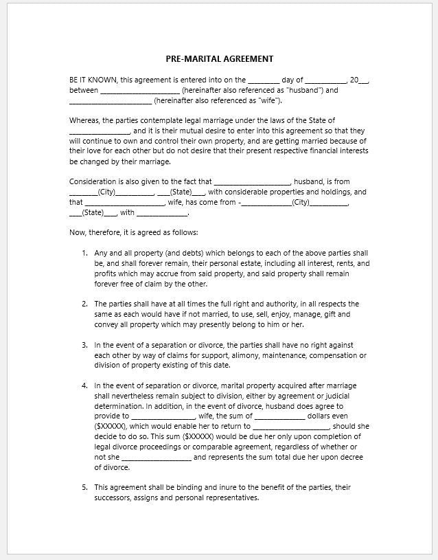 Pre-Marital Agreement Template - Clickstarters