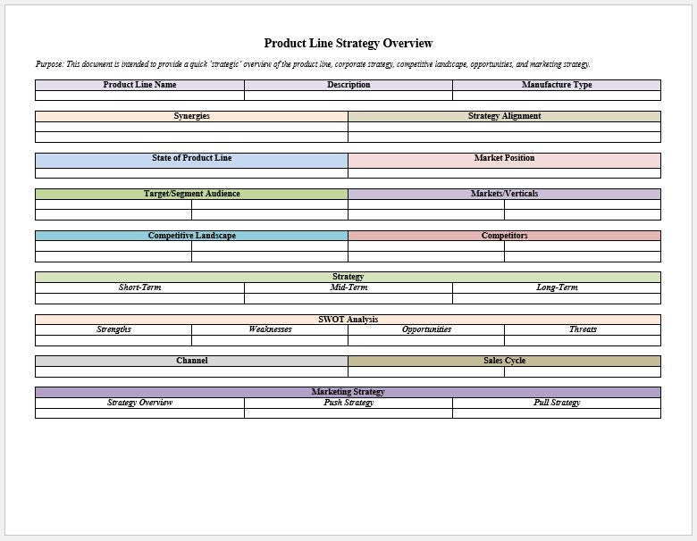 Product Line Strategy Overview Template - Clickstarters