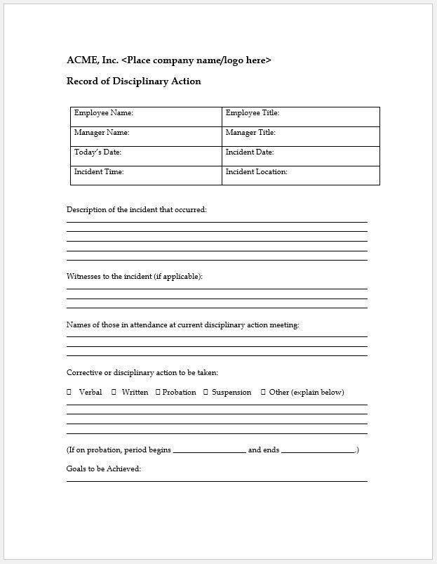 Record Of Disciplinary Action Form  Clickstarters