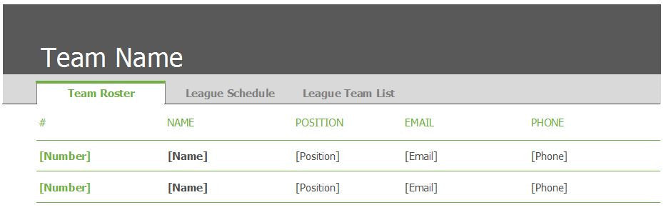 Sports Team Schedule and Roster Template - Clickstarters