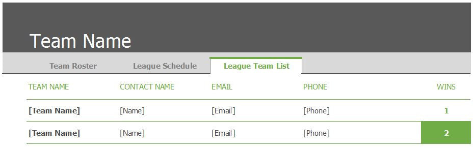 ... Sports Team Schedule And Roster Template   Clickstarters