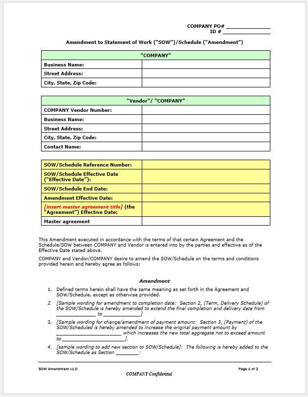 Statement Of Work Sow Amendment Worksheet – Clickstarters