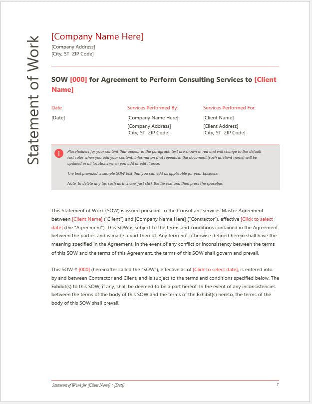 Statement Of Work Sow For Services Or Consulting Company Template