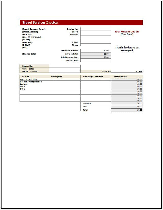 Travel Services Invoice Template - Clickstarters