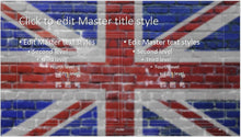 UK Flag on Wall Background PowerPoint Template - Clickstarters