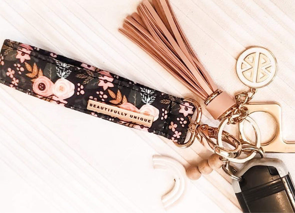Dark Green Floral Key Fob Wristlet