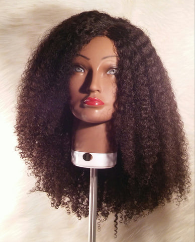 20 inch Freepart 180% Virgin 7A Brazilian Kinky Curly Swiss Lace Wig *Brown Lace