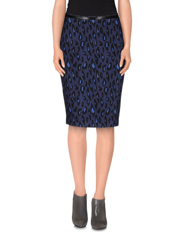 PF PAOLA FRANI 3/4 length Stretch Blue Leopard Print Midi Skirt Women's Size 12