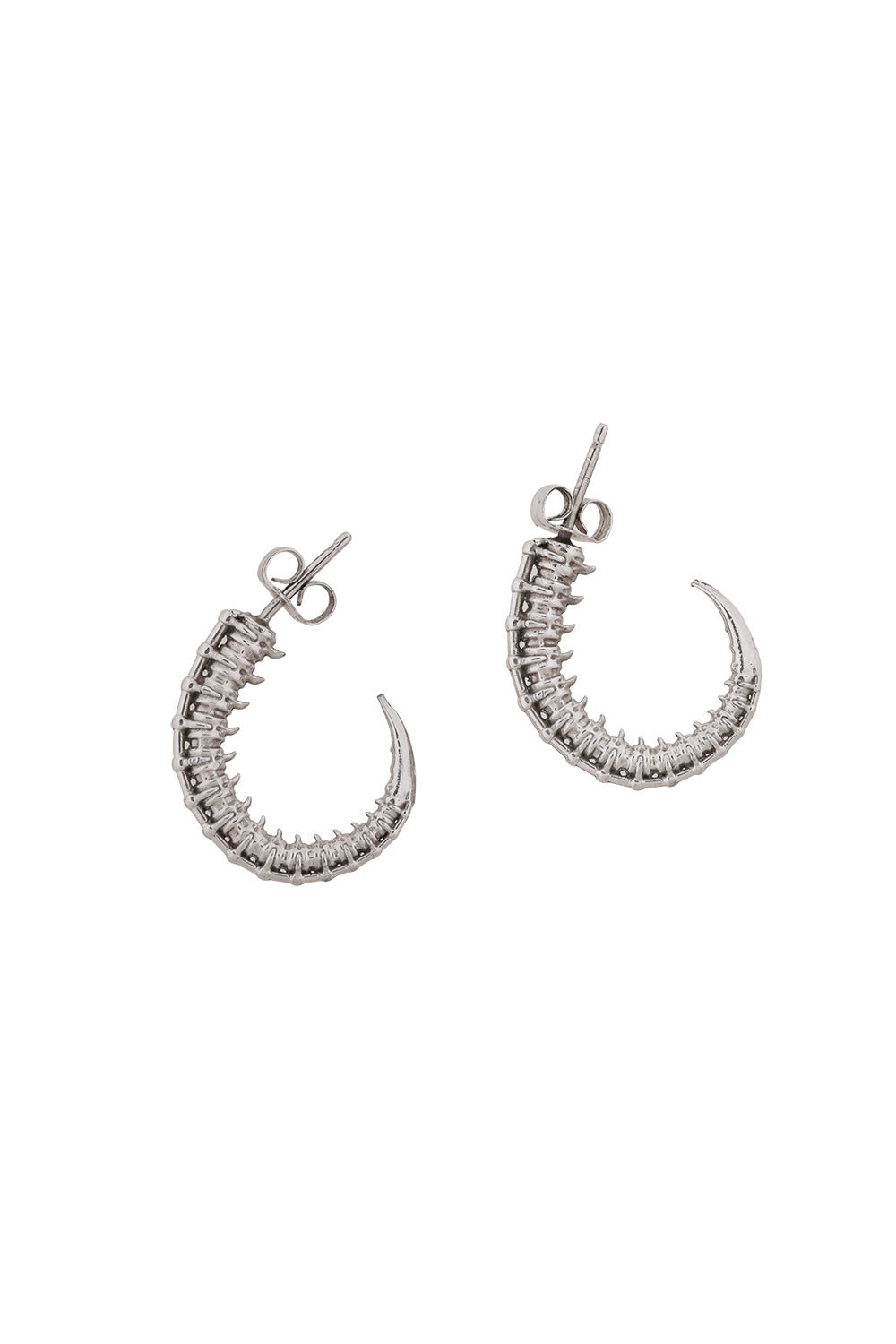 SILVER SPIKEY TAIL HOOPS