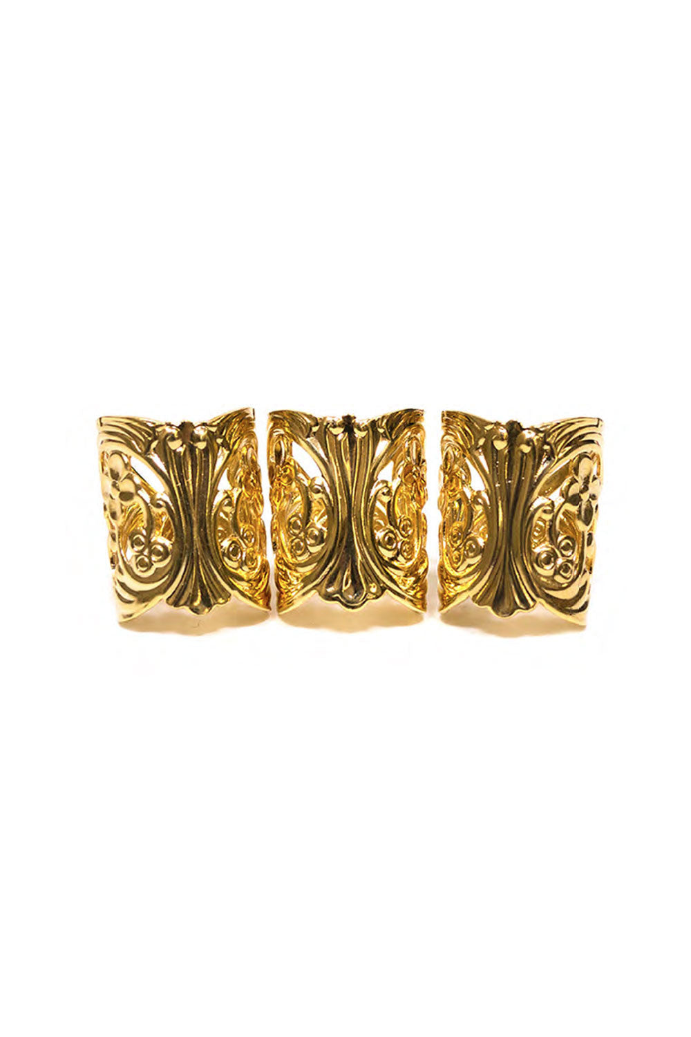 LACE CUFF RINGS IN GOLD (SET OF 3)