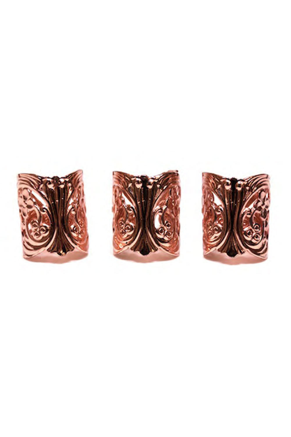 LACE CUFF RINGS IN ROSE GOLD (SET OF 3)