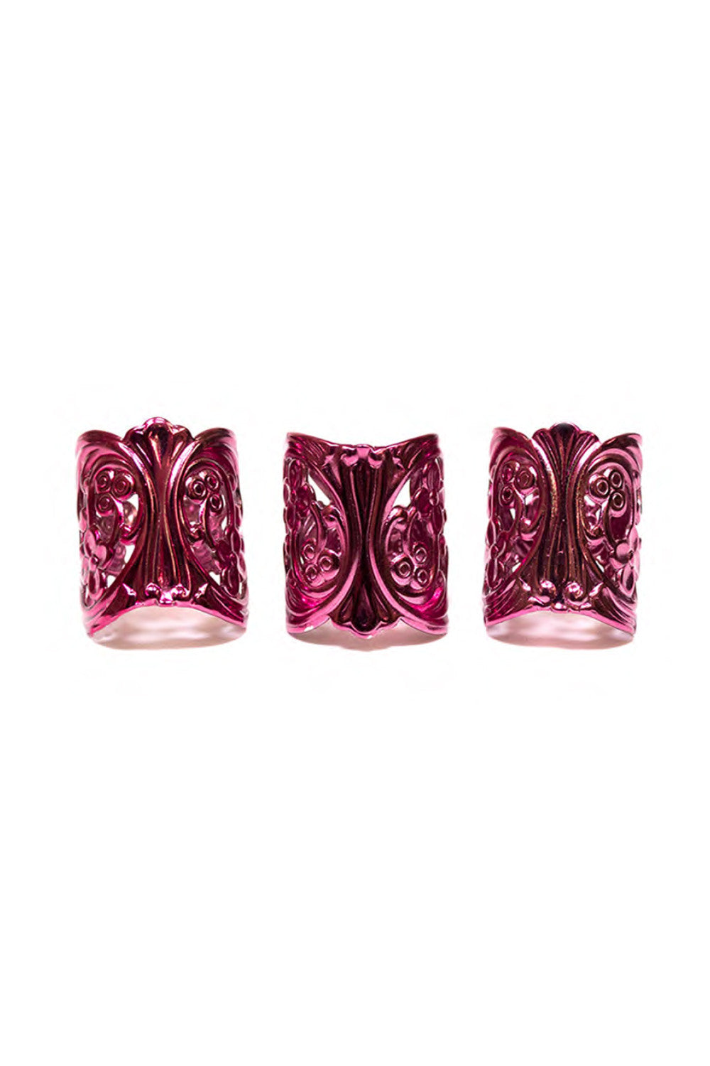 LACE CUFF ® RINGS IN FUSCHIA (SET OF 3)