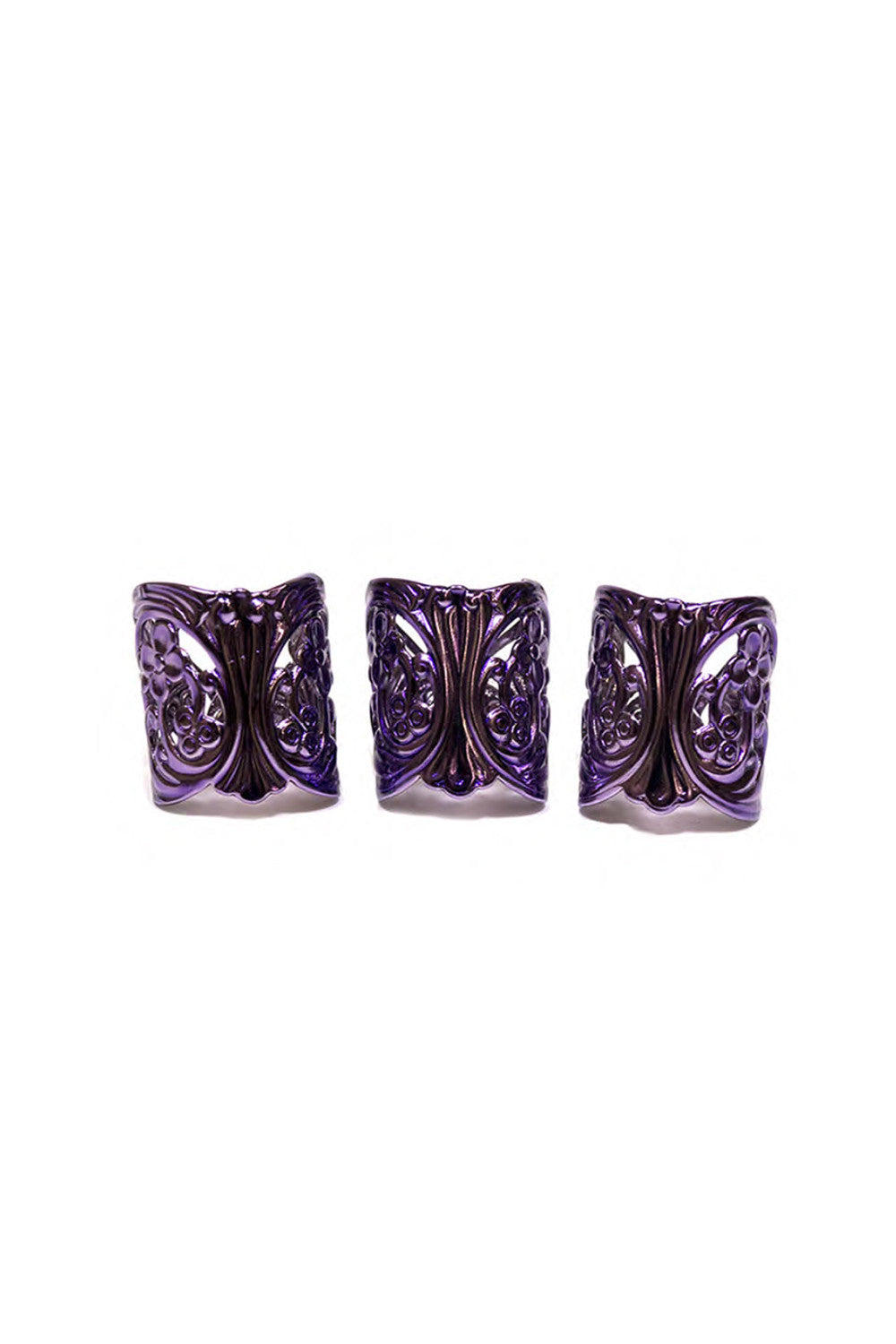 LACED CUFF RINGS IN LAVENDAR (SET OF 3)