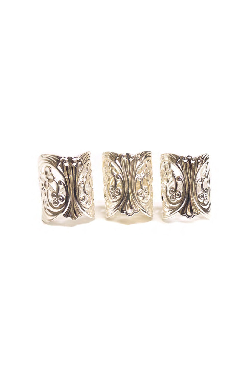 LACE CUFF RINGS IN SILVER (SET OF 3)