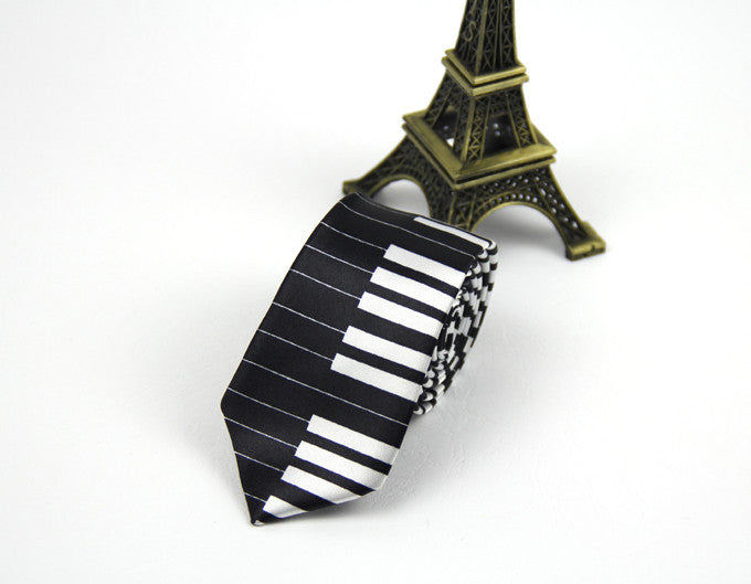 Music Guitar, Piano, Notes, Skinny TIe