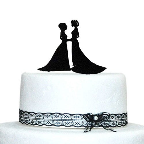 Two Brides Wedding Cake Topper, Lesbian Wedding Decoration