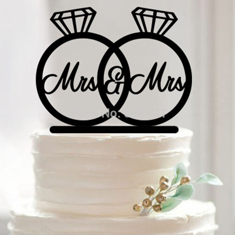 Mrs and Mrs Ring Silhouette Cake Topper