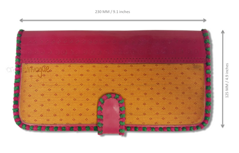 Crafts in Vogue - Touch of Traditions - Leather Clutch - Red & Amber - Scale