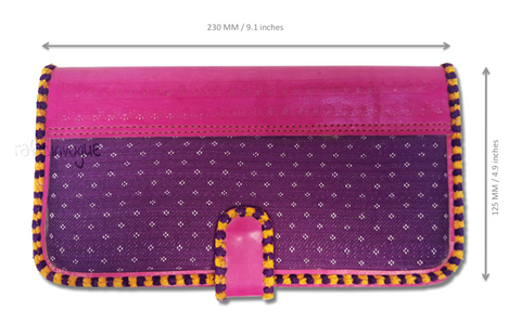 Crafts in Vogue - Touch of Traditions - Leather Clutch - Magenta & Voilet - Scale