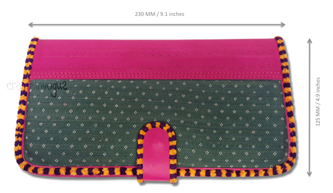 Crafts in Vogue - Touch of Traditions - Leather Clutch - Magenta & Green - scale