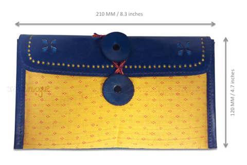 Crafts in Vogue - Enchanting Vibrant Purse - Blue & Yellow - scale