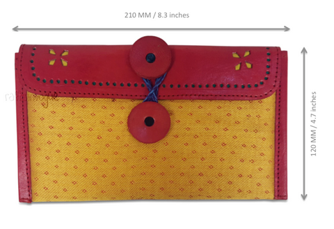 Crafts in Vogue - Classy Handy Accessory -Leather Clutch -Yellow & Red - scale