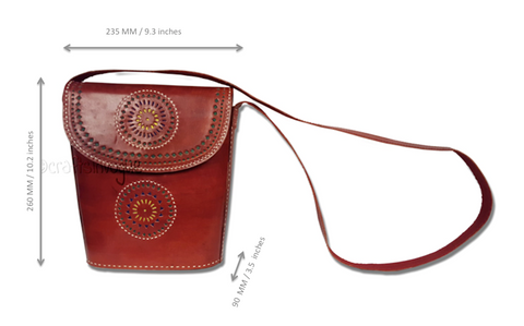 Crafts in Vogue - Graceful Accessory -Leather Handbag -Brown - Scale
