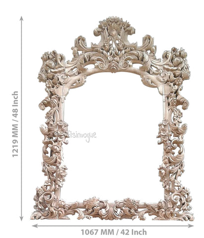 Crafts in Vogue - Noble Furnishing  - Carved Wooden Wall Photo  Mirror Frame - Scale