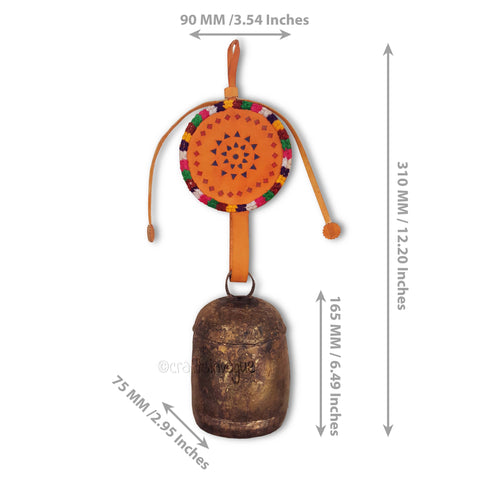 Crafts in Vogue - Serene Chime - Handmade Bell - L - Orange - Scale