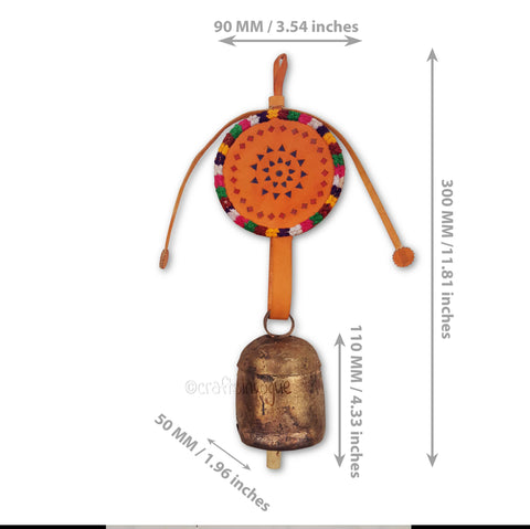 Crafts in Vogue - Serene Chime - Handmade Bell - M - orange - Scale