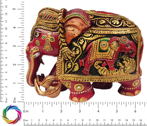 Kaleidoscopic Enchantment - Carved Multicolor elephant sculpture - Scale