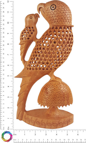 Mother's Love - Carved Parrot and Chick Showpiece - Crafts in Vogue - scale