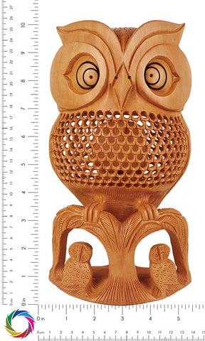Watchful Eyes - Jaali Carved Owl Sculpture - Crafts in Vogue