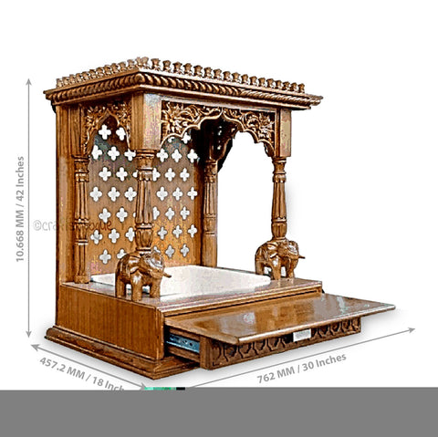 Crafts in Vogue - Triumphant Lead - Carved Wooden Temple - scale