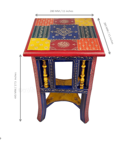 Ethnicity Revisited – Multicolour embossed side table - Scale