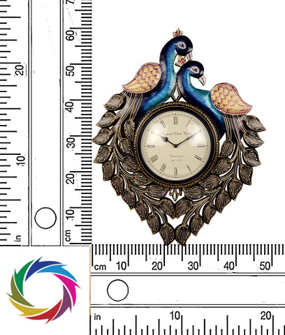 Eternal Sophistication - dual peacock wall clock - scale