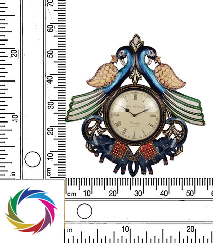 Boundless Glory – Peacock and elephant wall clock - scale