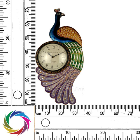 Classic Peacock Wall Clock Embellishment-colourful feather - Scale
