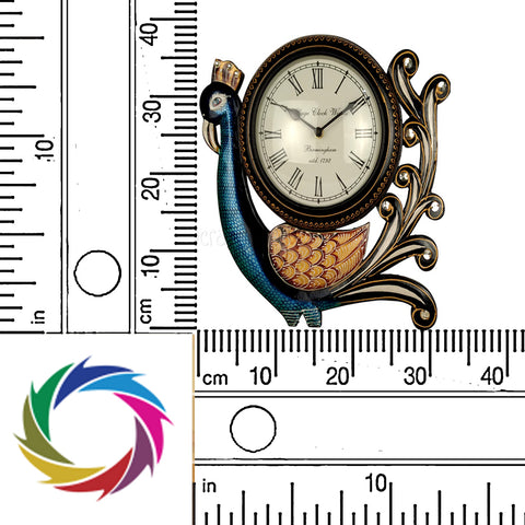 Crafts in vogue - Timeless Beauty - Dancing Peacock Wall Clock - scale