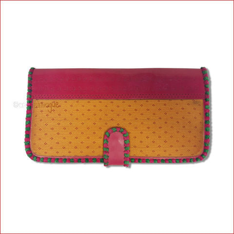 Crafts in Vogue - Touch of Traditions - Leather Clutch - Red & Amber