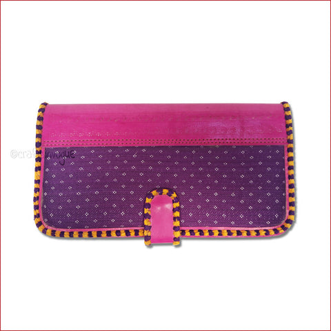 Crafts in Vogue Touch of Traditions - Leather Clutch - Magenta & Violet