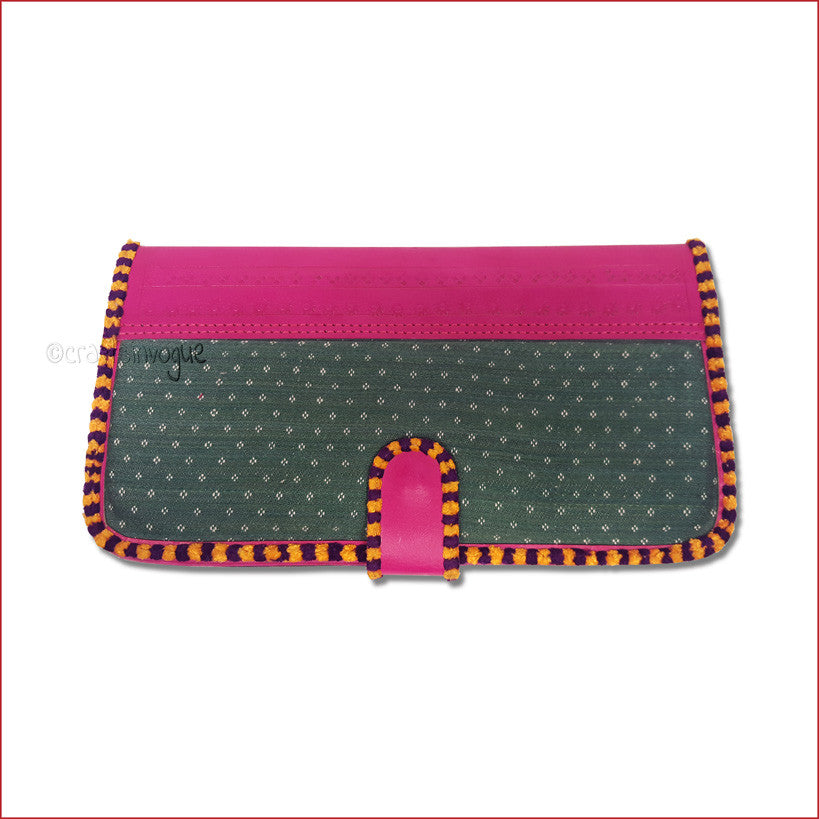 Crafts in Vogue - Touch of Traditions - Leather Clutch - Magenta & Green