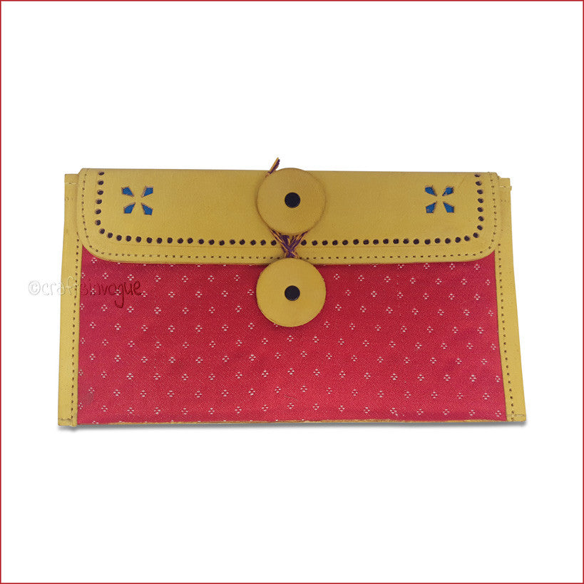 Crafts in vogue-Classy Handy Accessory -Leather Clutch -Yellow & Red