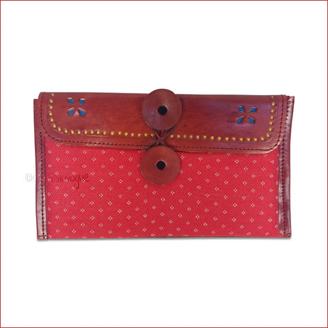Crafts in Vogue - Classy Handy Accessory -Leather Clutch -Brown & Red